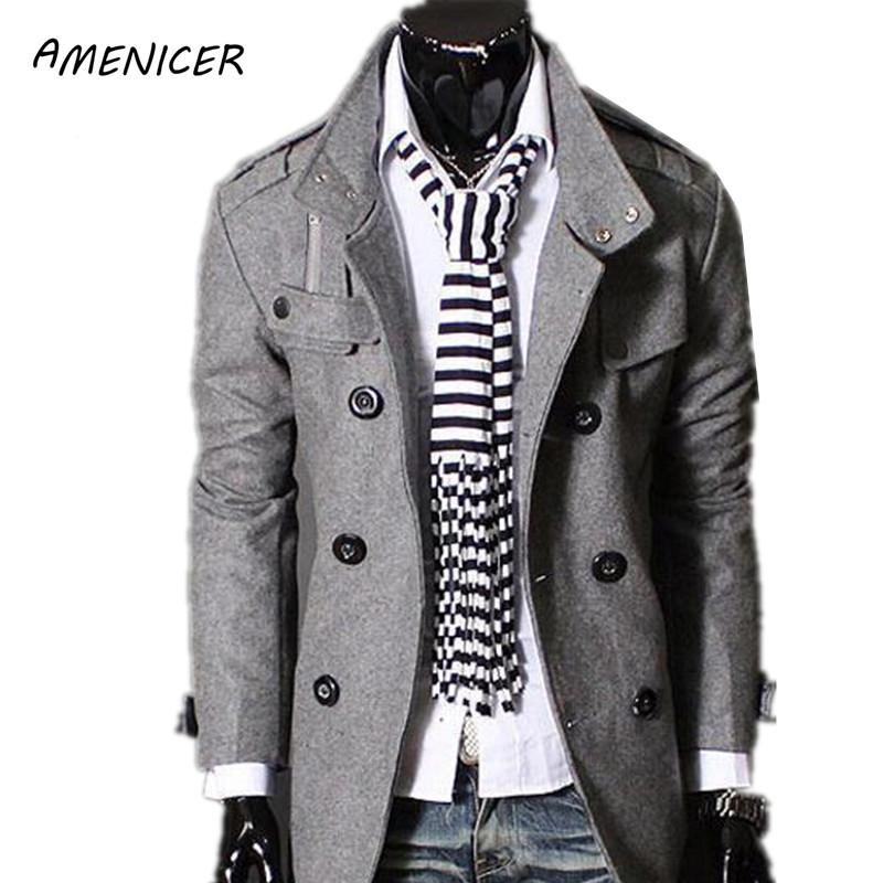 [해외]새로운 2015 남자 & 모직 코트 단색 검정 온풍 롱 윈드 브레이커 더블 브레스트 오버 코트 맨 완두콩 코트 Abrigos Hombres Invierno/New 2015 Men&s Woolen Coat Solid Black Warm Long Windbr
