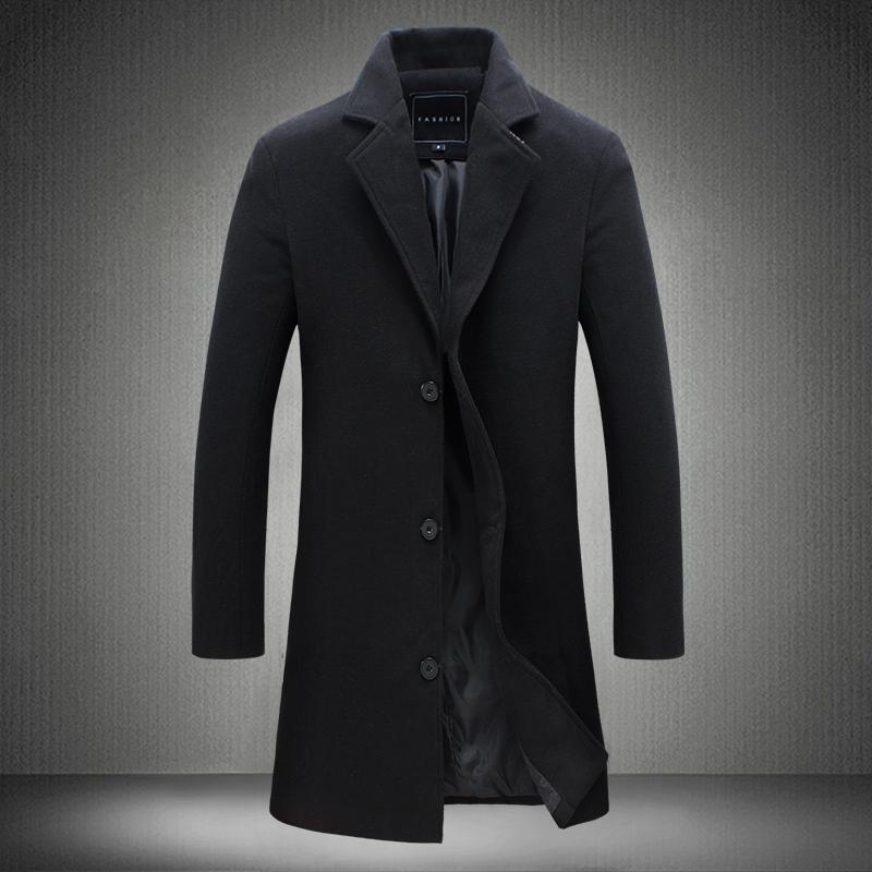 [해외]남성 & 비즈니스 캐주얼 Long Wool & amp; 블랜드 새로운 패션 남성 가을 싱글 브레스트 모직 코트 아웃웨어 윈드 자켓/Men&s business casual Long Wool & Blends New Fashion Male Aut