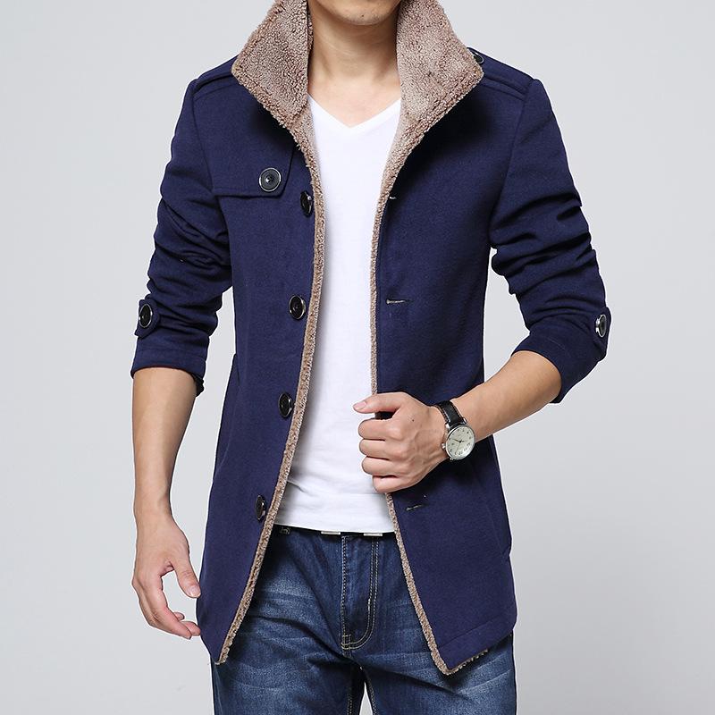 [해외]2017 새로운 망 의류 진한 파란색 외투 양모 양모 모직 재킷 칼라 남성 패션 고전적인 outwear 봄 & amp; 가을 울 & amp; 혼합/2017 new mens clothing dark blue coat lambs wool woolen