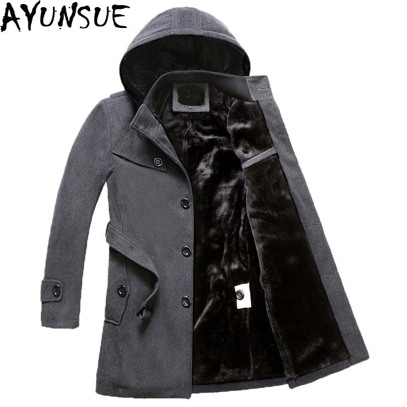 [해외]AYUNSUE 남자 & 양모 재킷 겨울 브랜드 남자 모직 코트 긴 바지와 코트 남성 벨벳 두꺼운 플러스 사이즈 4XL 오버코트 LX772/AYUNSUE Men&s Wool Jackets Winter Brand Men Woolen Coats Long Jac