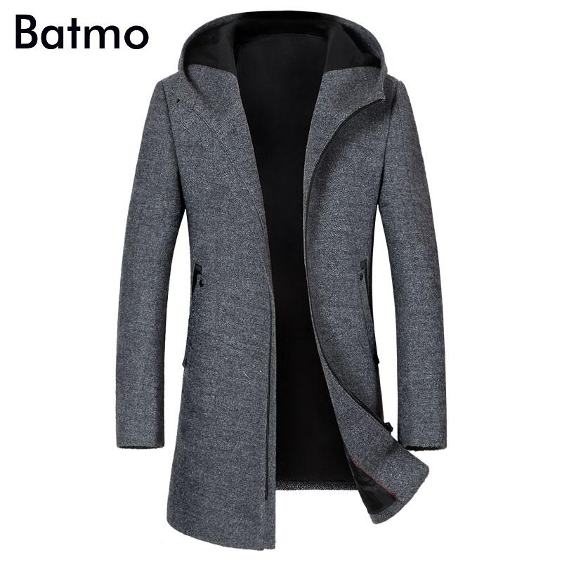 [해외]Batmo 2017 겨울 고품질 양모 남성 및 두건 트렌치 코트, 겨울 코트 남성, 플러스 사이즈 1812/Batmo 2017 new arrival winter high quality wool men&s hooded trench coat,winter coat m