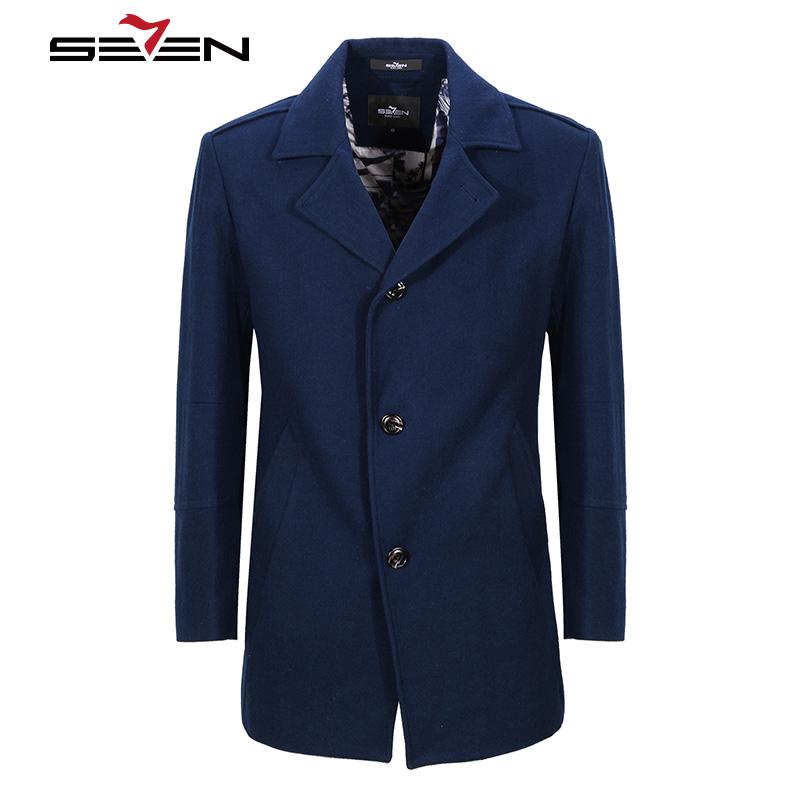 [해외]Seven7 Men 's Wool Coats 겨울 롱 트렌치 캐시미어 자켓 슬림 남성 오버 코트 로얄 블루 모직 코트 플러스 사이즈 4XL 5XL 707C17090/Seven7 Men&s Wool Coats Winter Long Trench Cashmer