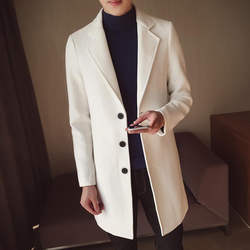[해외]LEFT ROM 남성 겨울 고급 보온 슬림 Fit 캐시미어 코트 / 남성용 컬러 옷깃 캐주얼 자켓 / 트렌치 코트 S-5XL/LEFT ROM Male winter high-grade warmth slim Fit Cashmere coat/men pure color