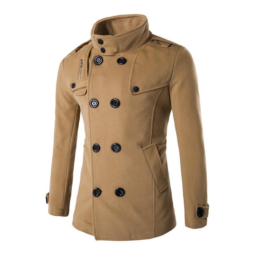 [해외]Woweile4001 남자 가을 겨울 더블 행 단추 칼라 모직 코트 스웨터 탑 블라우스/Woweile4001 Men Autumn Winter Double Row Button Collar Woolen Coat Sweater Top Blouse