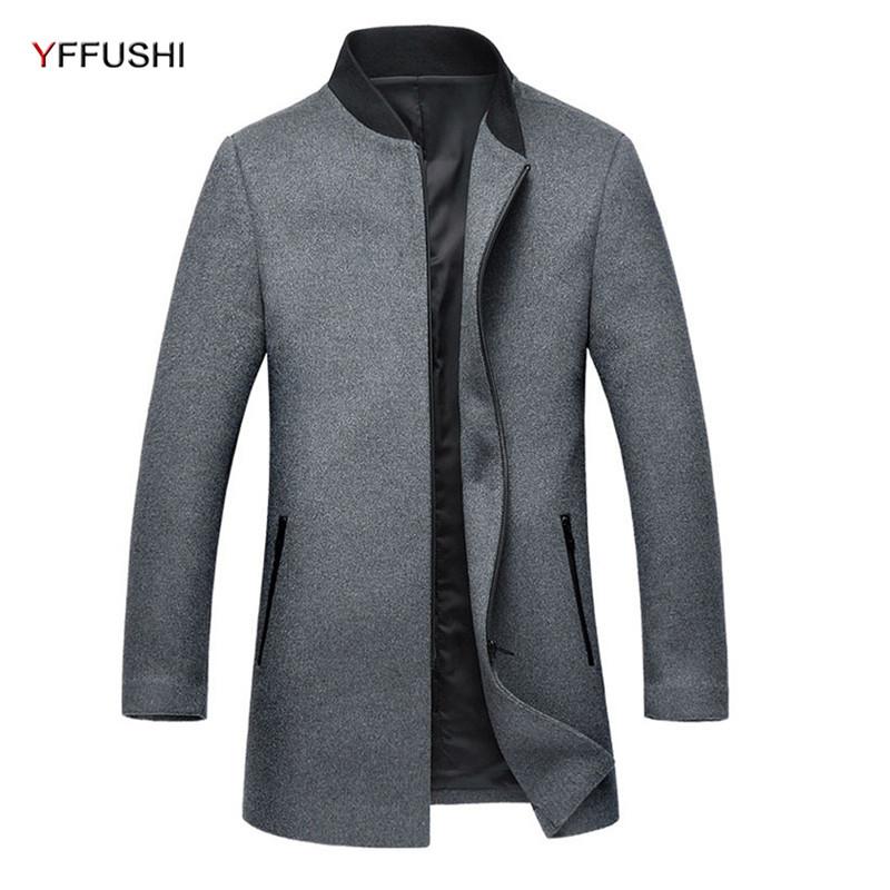 [해외]YFFUSHI 새로운 패션 망 오버코트 그레이 블랙 지퍼 울 코트 남성 스탠드 칼라 캐주얼 스타일 2017 최신 디자인/YFFUSHI New Fashion Mens Overcoat Grey Black Zipper Wool Coat Men Stand Collar