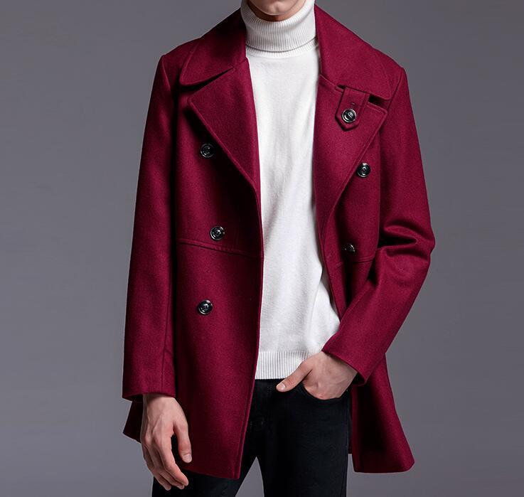 [해외]S - 6XL HOT 2017 봄 붉은 색 양모 울 자켓 옷깃 대형 패턴 모직 코트의 새로운 남성 패션 두 번 행/S-6XL HOT 2017 Spring Male New Fashion Double row of wine red wool wool jacket lap