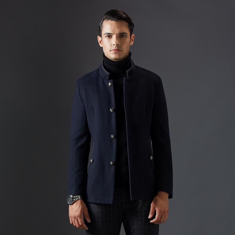 [해외]Men 's s Wool Coats & amp; 재킷 겨울 자켓 남자 캐시미어 자켓 남자 오버코트 슬림 피트 스탠드 칼라 캐주얼 모직 블랙 자켓 코트/Men&s Wool Coats & Jackets Winter Jacket Men Cashm