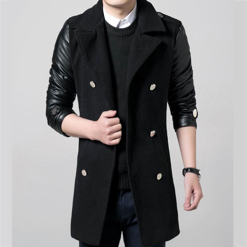 [해외]Men s 캐주얼 울 코트 2017 신품 겨울철 남성용 윈드 부츠 고품질 추천 가죽 Retail 용 윈드 브레이커 코트 M-3XL/Men&s Casual woolen overcoat 2017 Tops new winter men windbreaker high-qu