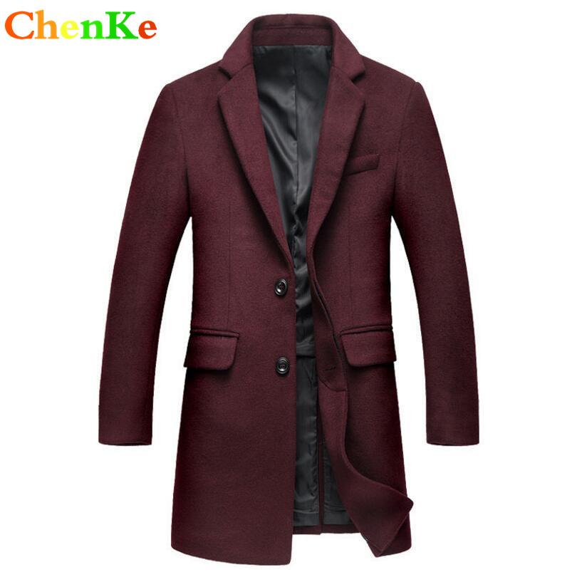 [해외]ChenKe 가을 / 겨울 고품질 양모 재킷 패션 남자 단색 긴 Retail 트렌치 코트 따뜻한 보온 양모 혼합/ChenKe Autumn/Winter high quality wool jackets New Arrivals Fashion Men Solid Long