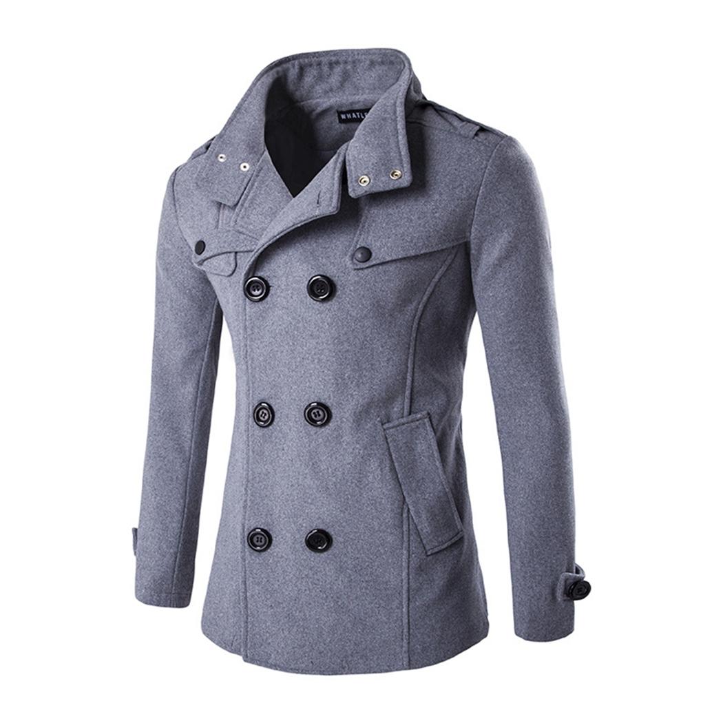 [해외]2018 년 가을 겨울 패션 남자 & 모직 코트 더블 브레스트 코트 남자 캐주얼 블랙 아웃룩 자켓 Mens 블렌드 플러스 사이즈 3XL/2018 Autumn Winter Fashion Men&s Woolen Coat Double Breasted Coat