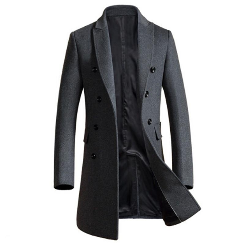 [해외]?2018 년 신작 겨울 모직 긴 peacoat 남성 슬림 피트 더블 브레스트 오버 코트 망 따뜻한 비즈니스/ 2018 New Winter woolen long peacoat men slim fit Double breasted overcoat mens warm
