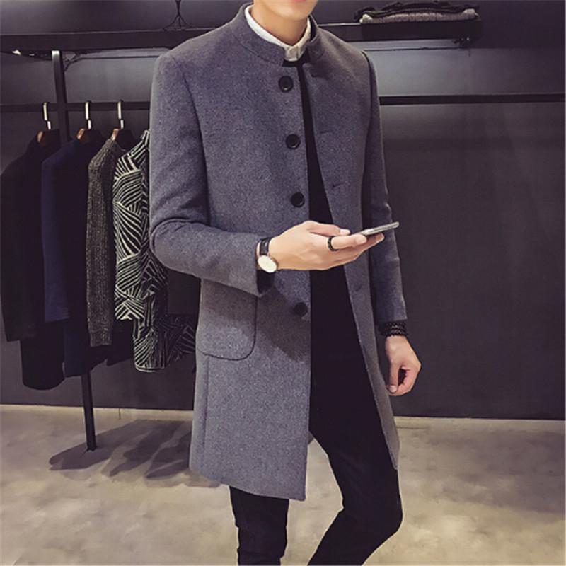[해외]?남자 & 자켓 2018 겨울 캐시미어 자켓 남자 롱 섹션 싱글 브레스트 오버 코트 턴 다운 칼라 캐쥬얼 모직 코트/ Men&s Jackets 2018 Winter Cashmere Jacket Man Long Section Single Breasted O