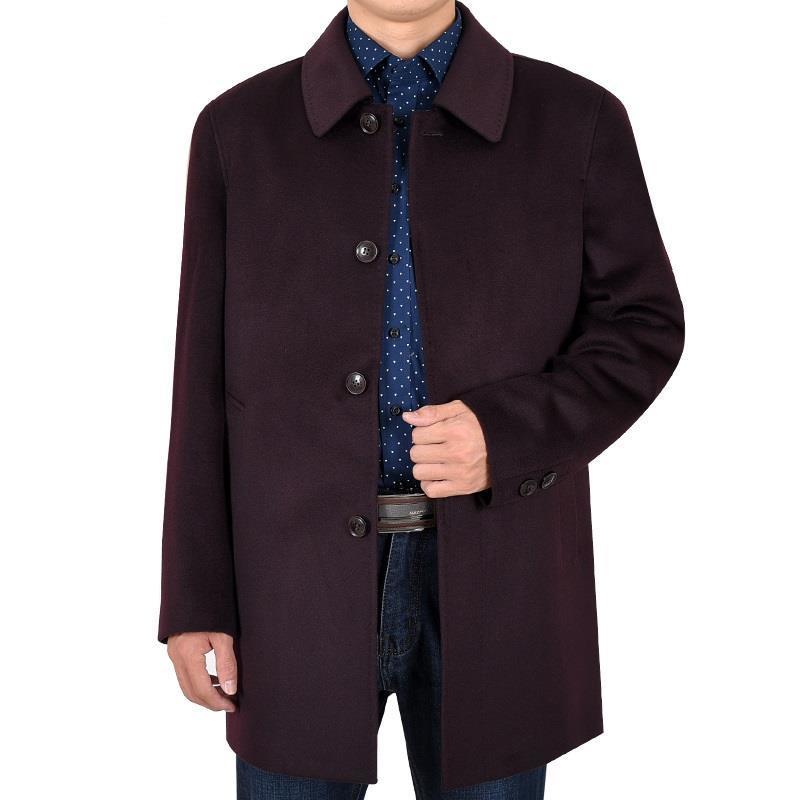 [해외]노인 겨울 비즈니스 캐주얼의 긴 섹션에서 코트 모직 옷깃 자켓 두꺼운 남자/coat in long section of the elderly winter business casual Woolen lapel jacket thick men