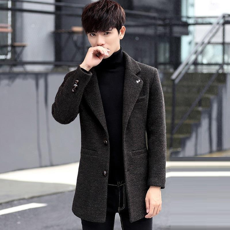 [해외]새로운 방풍복 남성용 긴 모직 코트 두껍게 한국어 슬림 잘 생긴/New windbreaker men&s long woolen coat thickening Korean Slim handsome