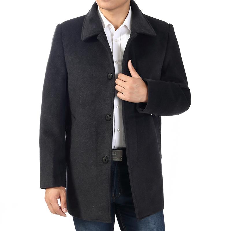 [해외]가을 및 겨울 남성 중간 길이 털 코트 망 다운 다운 칼라 quinquagenarian 캐주얼 트렌치 코트 블랙 그레이 플러스 사이즈/Autumn and winter male medium-long wool coat mens turn-down collar quin