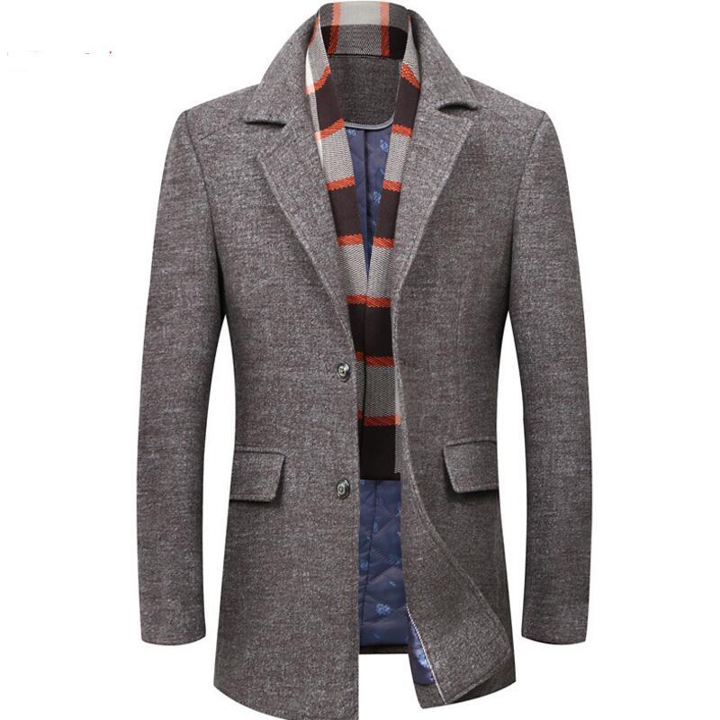 [해외]남성 코트 패션 브랜드 의류 트랜드 자켓 울 코트 남성 트렌치 싱글 브레스트 피코트 스탠드 칼라 캐주얼 남성 모직 코트/Man Coats Fashion Brand Clothes Trend Jacket Wool Coat Men Trench Single Breast