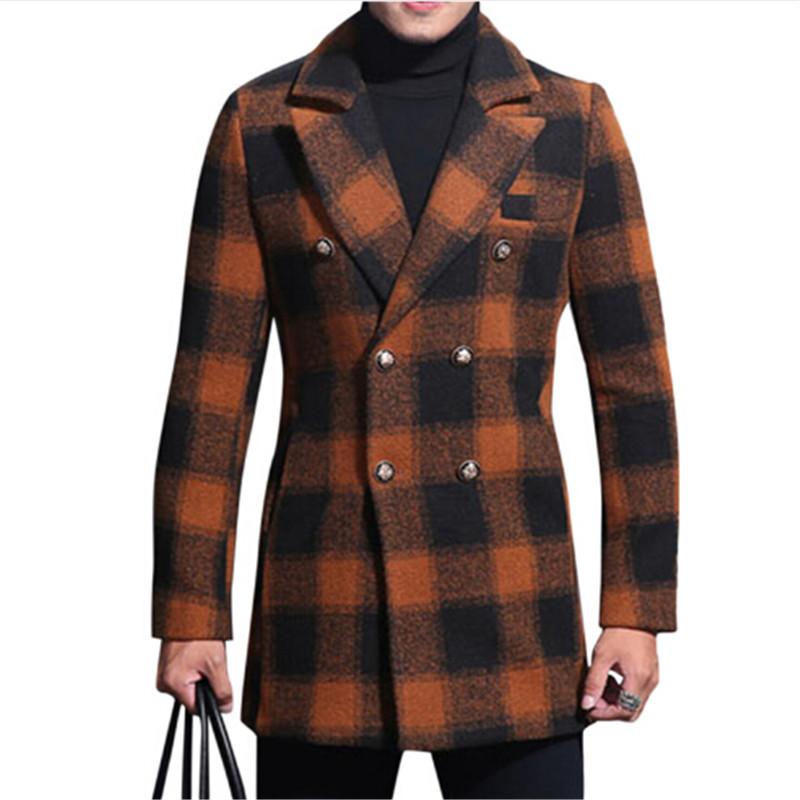 [해외]?2018 가을 겨울 더블 브레스트 무늬 격자 무늬 모직 코트 남성 긴 길이 캐주얼 스타일 슬림 피트 패션 오렌지 격자 무늬 모직 코트/ 2018 Autumn Winter Double Breasted Plaid Wool Coat Men Long Length Ca