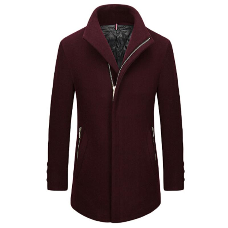 [해외]?50 % 메리노 울 코트 2018 새로운 겨울 면화 라이너 패션 코트 지퍼 칼라 울 코트 남성 비즈니스 거리/ 50% Merino wool coat 2018 new winter cotton liner fashion coat zipper collar wool c