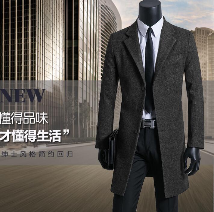 [해외]블랙 그레이 브라운 캐주얼 모직 코트 남성 정장 긴 Retail 망토 캐시미어 코트 casaco masculino inewo erkek 잉글랜드/Black grey brown casual woolen coat men suits long sleeves overco
