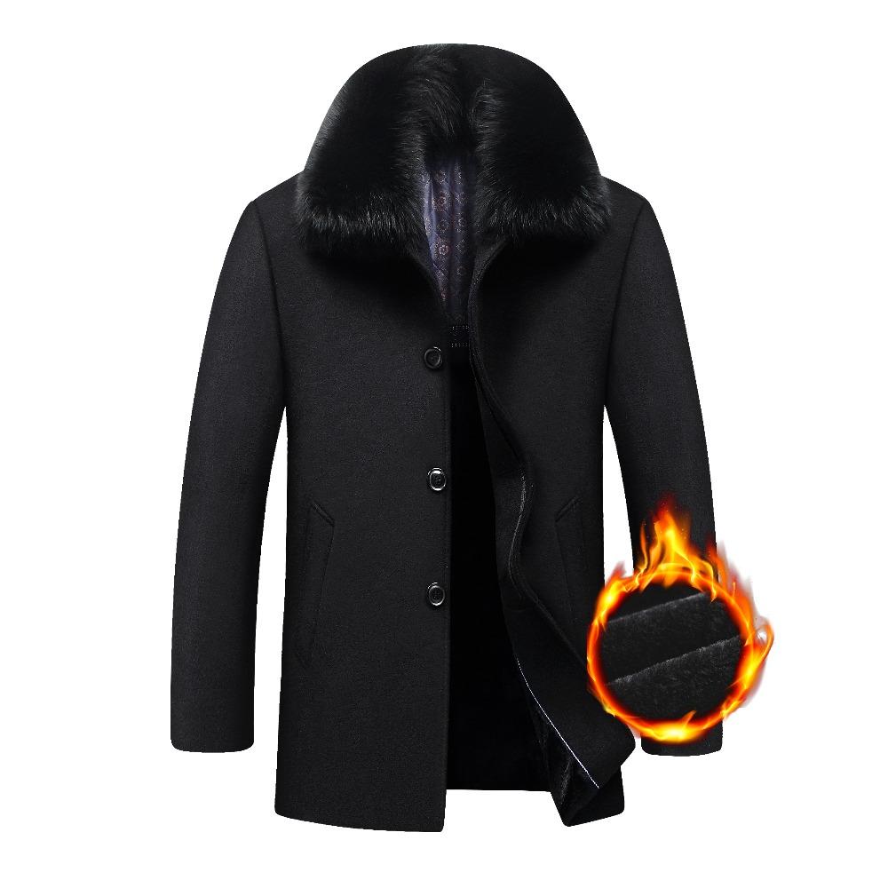 [해외]2018 새 두꺼운 웜 남성 자켓 겨울 중간 롱 빅 분리 가능한 큰 모피 칼라 울 남성 코트 겨울 플러스 사이즈/2018 New Thick Warm Men Jacket Winter Medium Long Big Detachable Big Fur Collar Woo