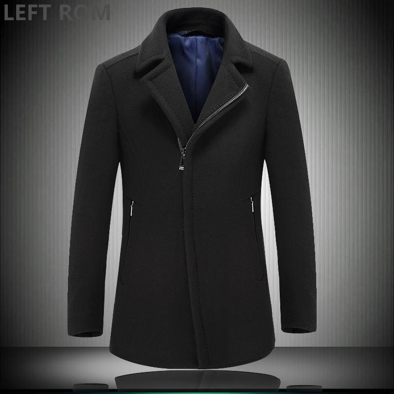 [해외]LE ROM 남성 겨울 순수한 색 플러스 코 튼 양모 코트 자기 재배 간단한 패션 코트 / 남자 비즈니스 캐주얼 Windproof 자 켓/LEFT ROM Male Winter pure color plus cotton wool coat self-cultivatio