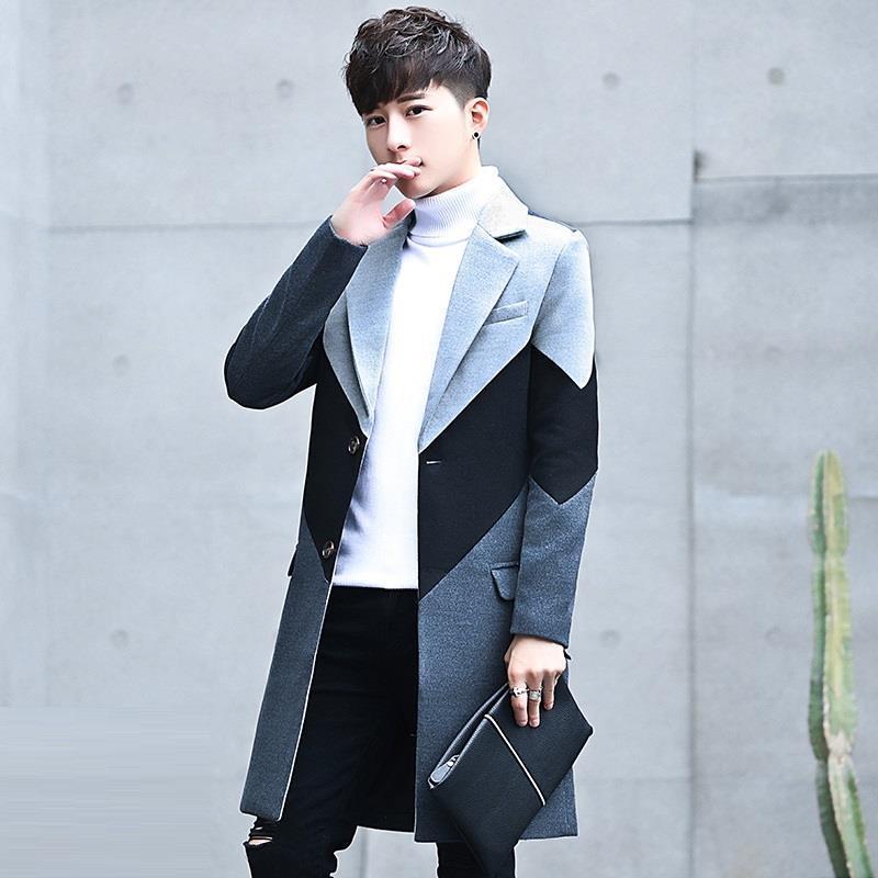 [해외]New men & s tide woolen coat 긴 섹션 잘 생긴 Nizi 스포츠 용 재킷의 한국어 버전/New men&s tide woolen coat Korean version of the long section handsome Nizi windb