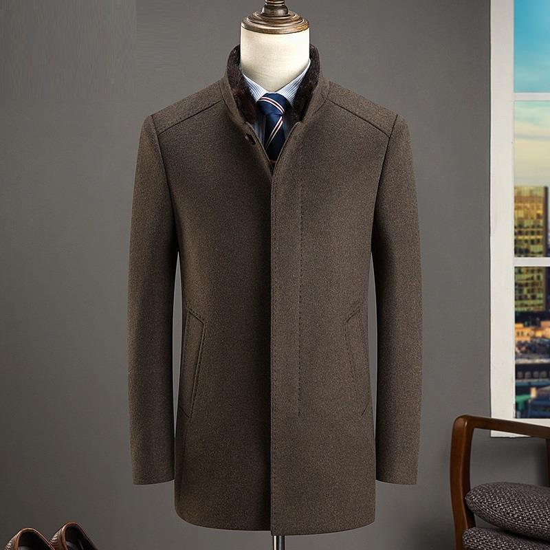 [해외]긴 모직 코트 남성과 중년 아버지는 두꺼운 옷을 입습니다./long woolen wool coat Men&s middle-aged father&s wear down thick clothes