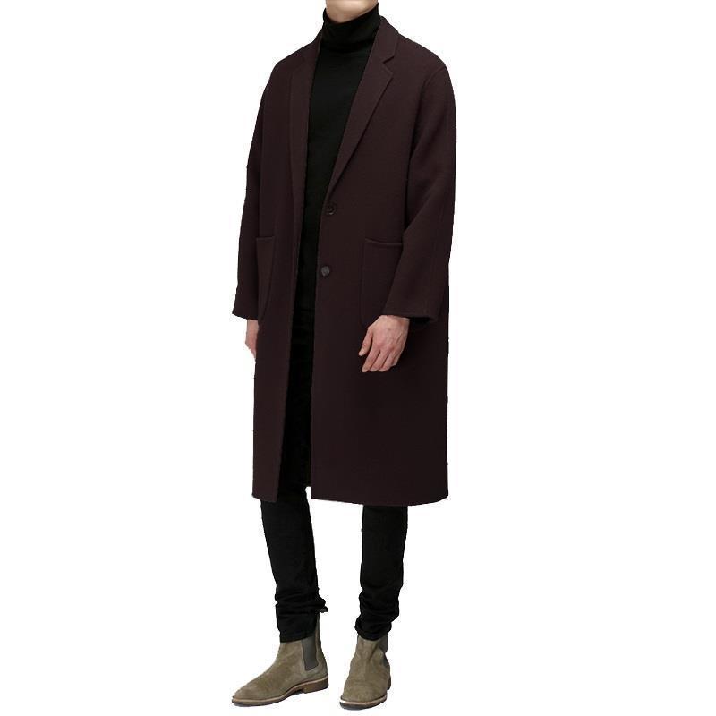 [해외]한국 버전 양면 캐시미어 긴 느슨한 느슨한 색 코트 남성 & 단순 모직 자켓 thickened/Korean version of double-faced cashmere long loose loose-colored coat men&s simple woolen