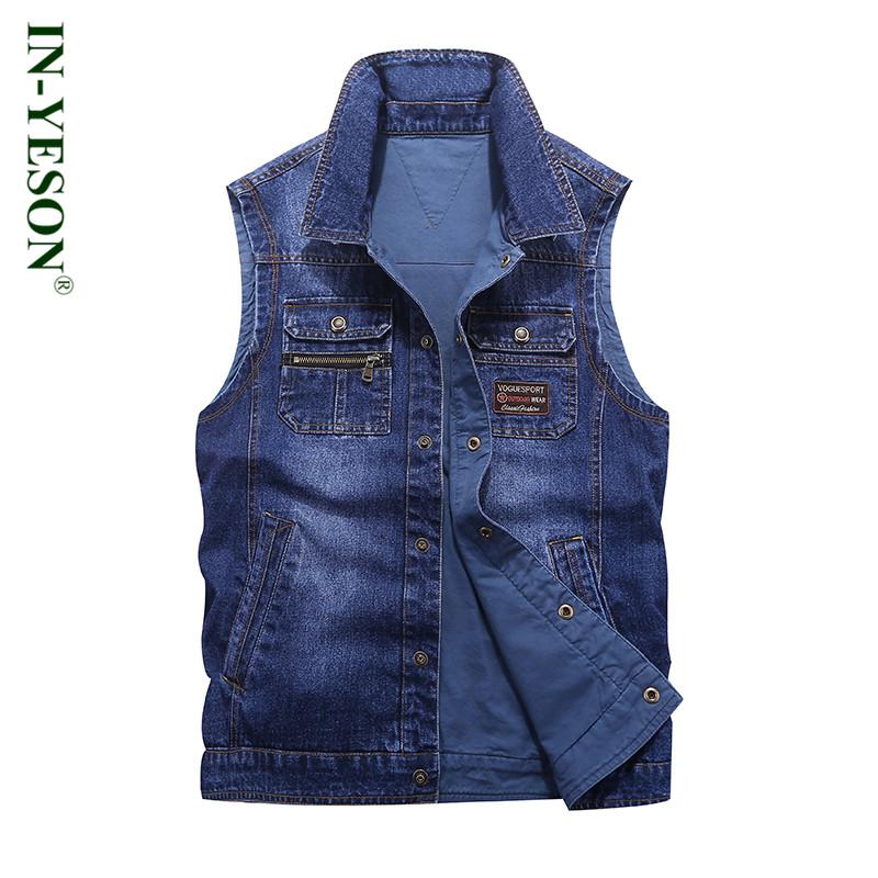 [해외]새로운 패션 데님 조끼 남자 브랜드 IN-YESON colete masculino inverno 지퍼 포켓 뒤집을 수있는 더블 사이드 청바지 조끼/New Fashion Denim Vest Men Brand IN-YESON colete masculino inver