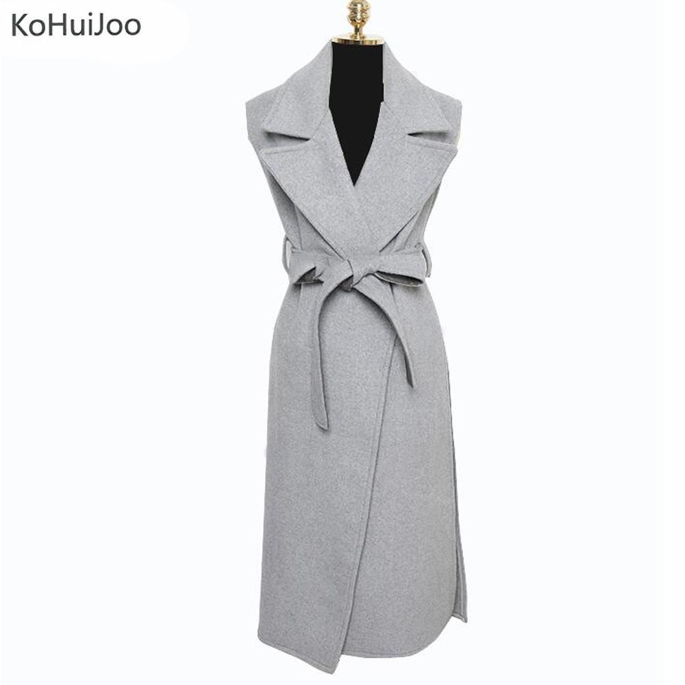 [해외]KoHuiJoo 우아한 가을 양모 조화 긴 조끼 여성 패션 벨트 높은 슬릿 조끼 여성 민Retail 코트 거리/KoHuiJoo  Elegant Autumn Wool Blend Long Vest Women Fashion Belted High Slit Waistco
