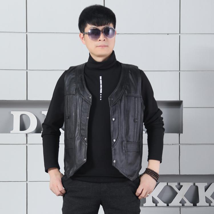 [해외]브랜드 캐주얼 남성 양가죽  가죽 조끼 신사 비즈니스 가죽 조끼 조끼 조끼 민Retail 탱크 탑/Brand Casual Mens Sheepskin Genuine Leather Vest Gentleman Business leather Vests Waistcoat