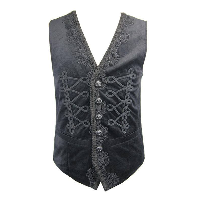[해외]악마 패션 고딕 블랙 민Retail 멋진 수 놓은 조끼 Steampunk 가을 V 칼라 파티 파티 잘 생긴 조끼 코트/Devil Fashion Gothic Black Sleeveless Fancy Embroidered Waistcoats Steampunk Aut