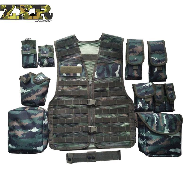 [해외]언로드 남자 멀티 포켓 전술 위장 메쉬 조끼 카 모크 전술 조끼 육군 전투 유니폼 밀리터리 법 집행 조끼/Unloading Men Multi-pocket Tactical Camouflage Mesh Vest Camo Tactical Vest Army Combat