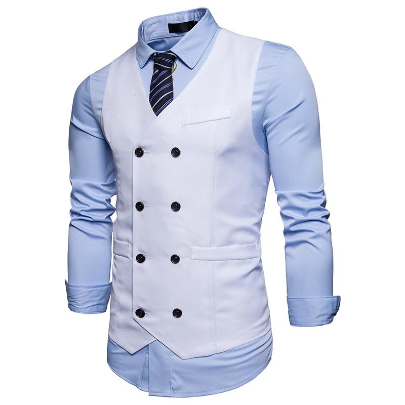 [해외]캐주얼 단색 남자 & 더블 브레스트 조끼 정장 조끼 남자 클래식 남성 슬림 피트 정장 비즈니스 남자 조끼 남자/Casual Solid color Men&s Double breasted Vest Suit Vest Men Classic male Slim Fi