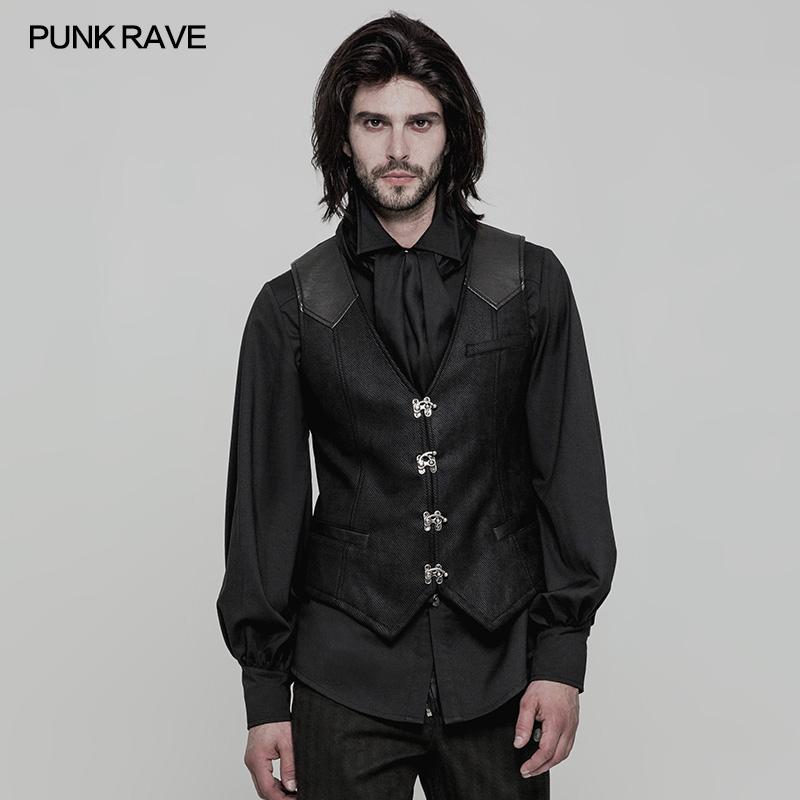 [해외]2018 새로운 펑크 레이브 Steampunk 망 파티 조끼 조끼 검은 스팀 펑크 록 Motocycle 의류 WY862/2018 New Punk Rave Steampunk Mens Party Waistcoat Vest Black Steam Punk Rock Mo