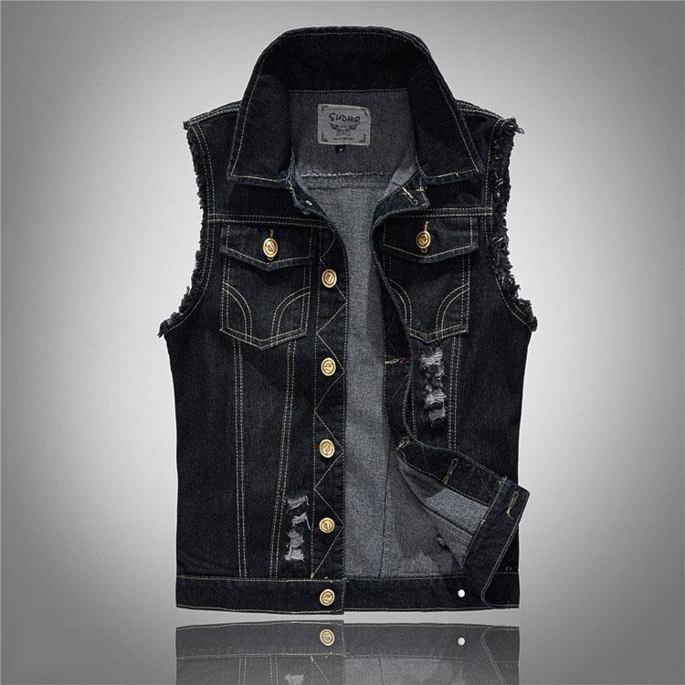 [해외]여름 스타일 디자이너 패션 브랜드 남자 & s 데님 조끼 슬림 블랙 겉옷 망 데님 코트 캐주얼 자켓 민Retail 조끼 5XL/summer style designer fashion brand Men&s denim vest slim black Outerwe