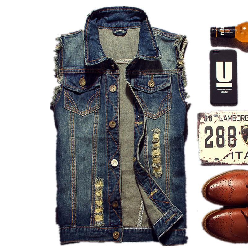 [해외]2017 찢어진 진 자켓 남성 & 데님 조끼 힙합 팝 자켓 조끼 남성 카우보이 브랜드 민Retail 자켓 남성 탱크 사이즈 6XL/2017 Ripped Jean Jacket Men&s Denim Vest Hip Pop Jean Jackets Waistco