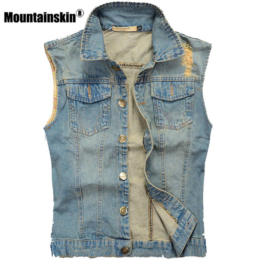 [해외]마운틴 킨 리브 데님 조끼 남자 & s 민Retail 자 켓 5XL 캐주얼 조끼 남자 & s 장 코트 슬림 피트 카우보이 남성 조끼 SA336/Mountainskin Ripped Denim Vest Men&s Sleeveless Jacket 5XL