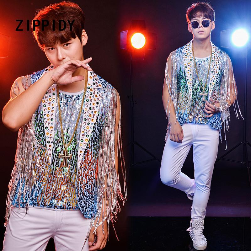 [해외]새로운 여름 여러 가지 빛깔의 장식 조각 술 블라인드 라인 석 남성용 및 조끼 화이트 팬츠 반짝이는 크리스탈 슬림 의상 세트 나이트 클럽 가수/New Summer Multicolor Sequins Tassel Bling Rhinestones Men&s Vest