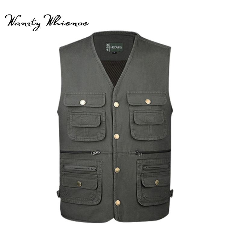 [해외]2018 크기 L-5XL 여름 조끼 남자 캐주얼 메쉬 양복 조끼 느슨한 많은 포켓 Collarless 망 작업 사진 조끼 남성/2018 Size L-5XL Summer Vest Men Casual Mesh Waistcoat Loose Many Pockets Co