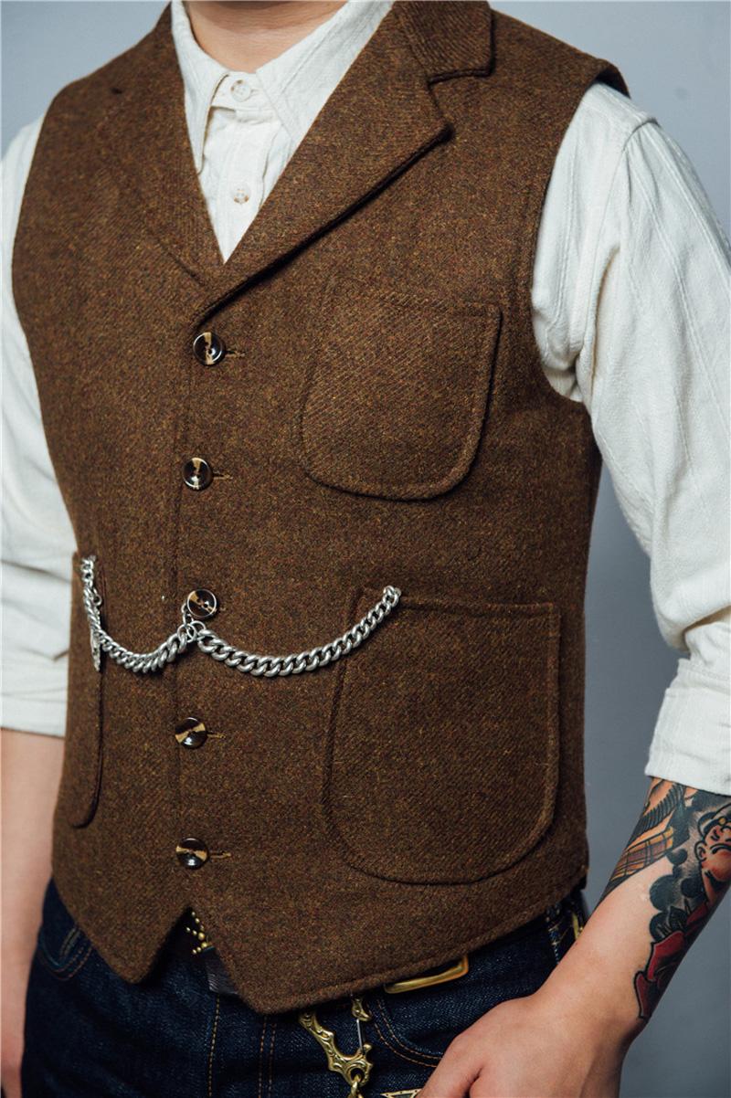 [해외]노동 조합 망 망 트위드 조끼 RRL 스타일 슬림 피트 타탄 조끼 신사 숙녀 파티 조끼/Labour Union Mens Woolen Tweed Vest RRL Style Slim Fit Tartan Waistcoat Gentlemen Party Wedding V