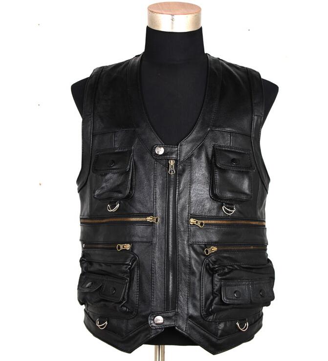 [해외]새로운 남자 & 양모 코트  가죽 기자는 포켓보다 더 정장 Quinquagenarian Men Cow Leather Vest Tops/New Men&s Waistcoat Genuine Leather Reporters Suit More Than Pocket