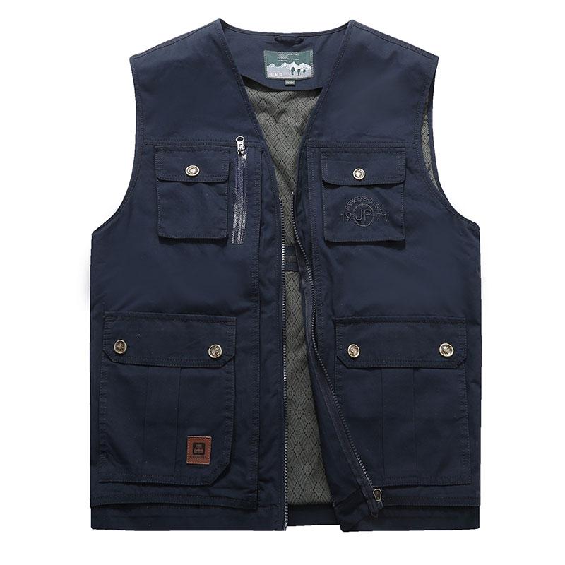 [해외]2018 L8XL 9XL 새로운 봄 코튼 블루 조끼 남성 멀티 포켓 미묘한 캐주얼 조끼 아시아 크기 민Retail 코트 남성 자켓/2018 L8XL 9XL New Spring Cotton Blue Waistcoats Men Multi-pocket Wid-wais