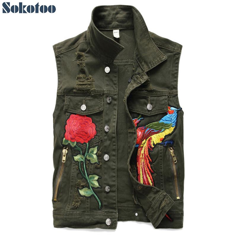 [해외]Sokotoo 남자 & s 군대 녹색 피닉스 자수 데님 조끼 슬림 독수리 수 놓은 탱크 탑/Sokotoo Men&s army green rose phoenix embroidery denim vest Slim eagle embroidered tank top