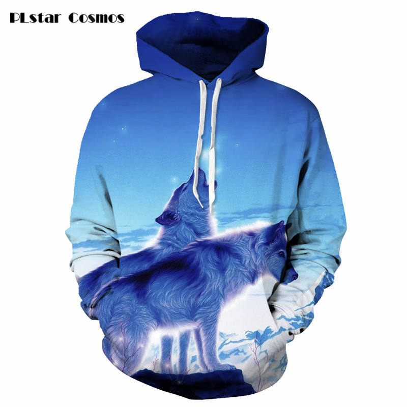 [해외]은하 늑대 3D 후드 남성 / 여성 겨울 가을 하라주쿠 스타일 스웨트 인쇄 동물 후디 의상 캐쥬얼 사이즈 S-5XL/Galaxy Wolf 3D Hoodies Men/Women Winter Autumn Harajuku style Sweatshirt Print An