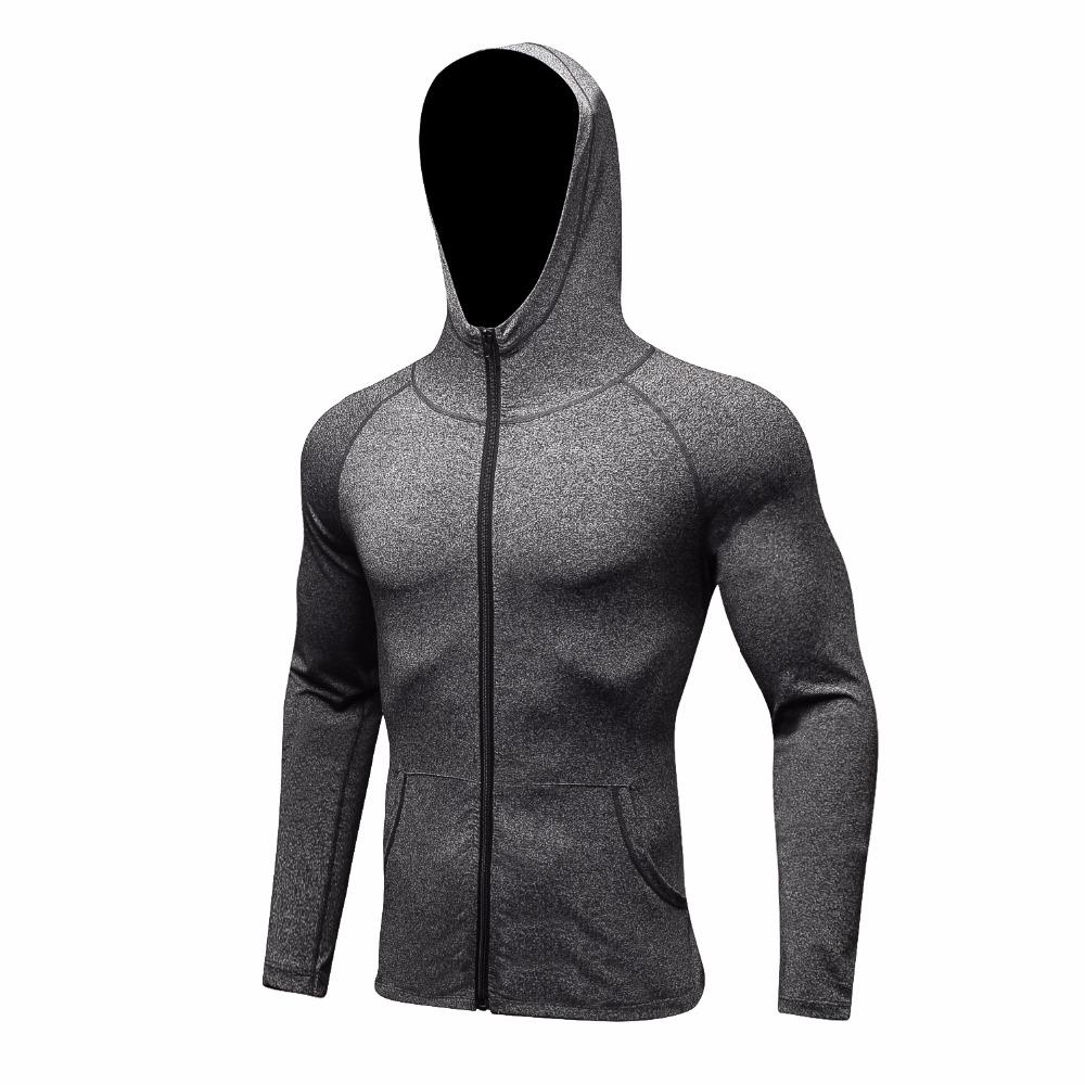 [해외]2017 패션 남자 가을 빠른 건조 탄성 근육 슬림 얇은 스웨터 옷 지퍼 압축 보디 빌딩 스포츠 착용 후드/2017 Fashion Men Autumn Quick Dry Elastic Muscle Slim Thin Sweatshirts Clothe Zipper C