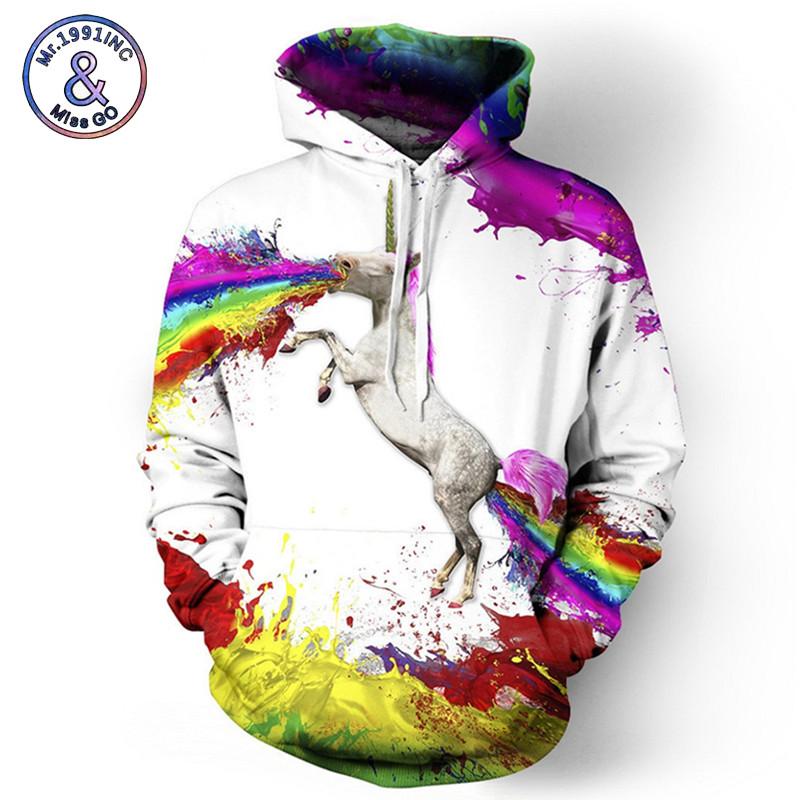 [해외]Mr.1991INC 공간 은하계 3D 스�� 셔츠 남성 / 여성 후드 모자 프린트 다채로운 유니콘 후디 탑스 야구 의류/Mr.1991INC Space Galaxy 3d Sweatshirts Men/Women HoodiesHat Print Colorful unico