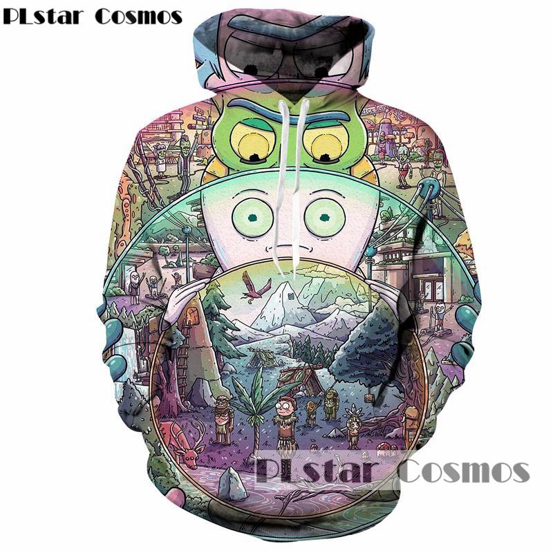 [해외]PLstar 코스모스 릭 및 morty 후드 브랜드 두건 남성 / 여성 모자 3d 스웨터 만화 프린트 가을 Hipster Sweatshirts/PLstar Cosmos rick and morty Hoodies brand Hooded Men/Women Hat 3d