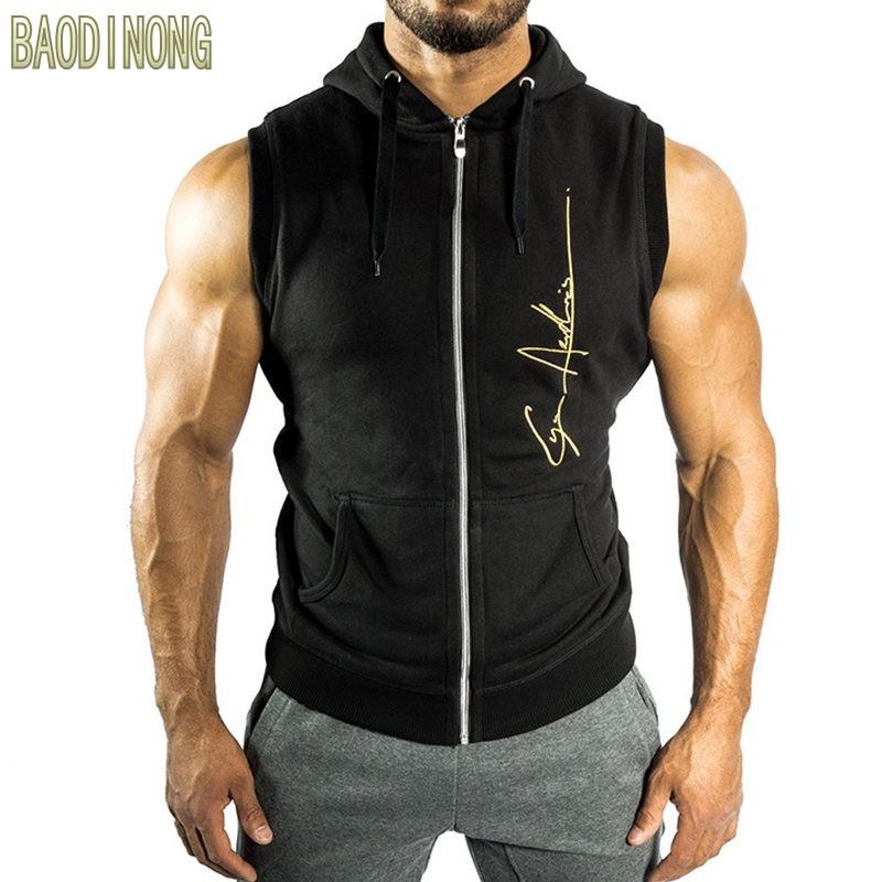 [해외]남성 휘트니스 보디 민Retail 후드 티 운동 용 남성 체육관 후드 티 다운 캐주얼 패션 브랜드 스포츠웨어/Men Fitness bodybuilding Sleeveless hoodie Sweatshirt male gyms cotton Hooded vest Ca