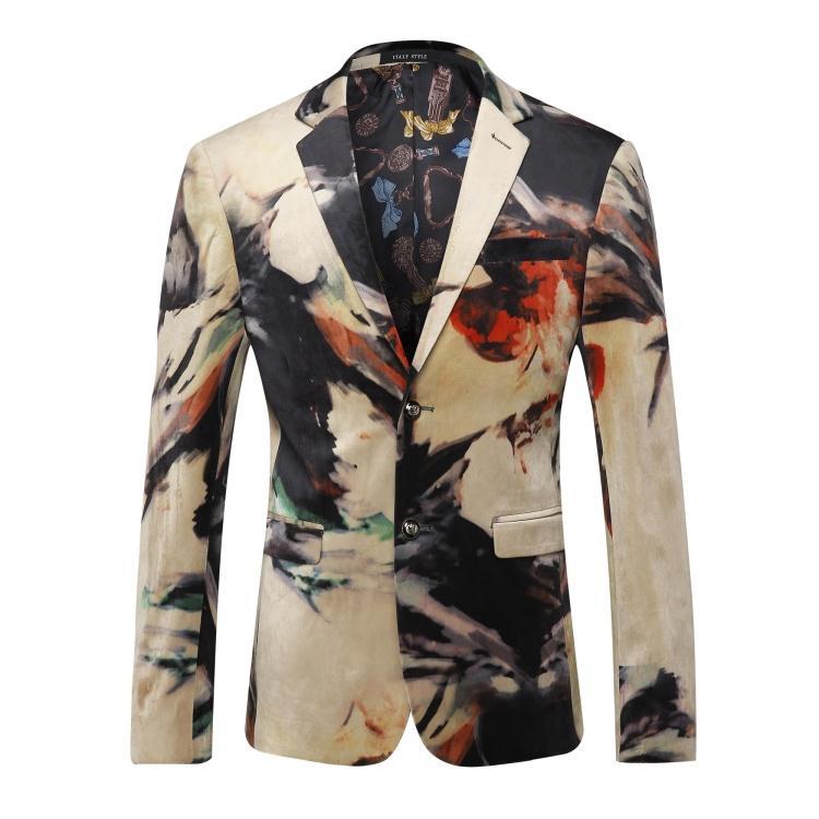 [해외]2016 velveteen 캐주얼 블레 이저 남성 자켓, 캐주얼 자켓 남성 플러스 사이즈 M, L, XL, XXL, XXXL 인쇄/2016 new arrival printed velveteen casual blazer men blazer masculin,casu